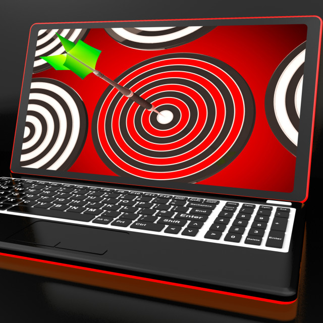 """""""Target Hit On Laptop Shows Accuracy"""" stock image"""