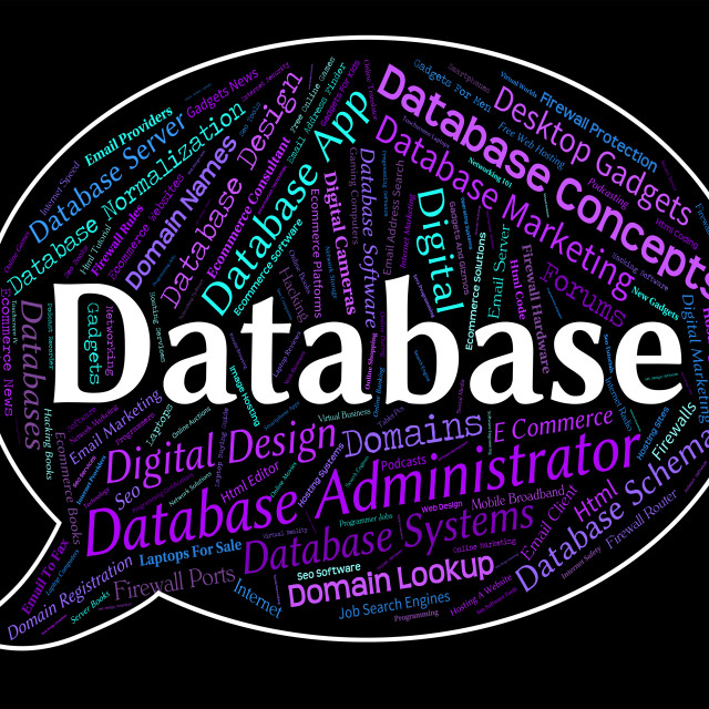 """""""Database Word Means Information Text And Computers"""" stock image"""