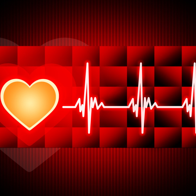 """""""Red Heart Background Means Cardiac Rhythm And Cubes."""" stock image"""