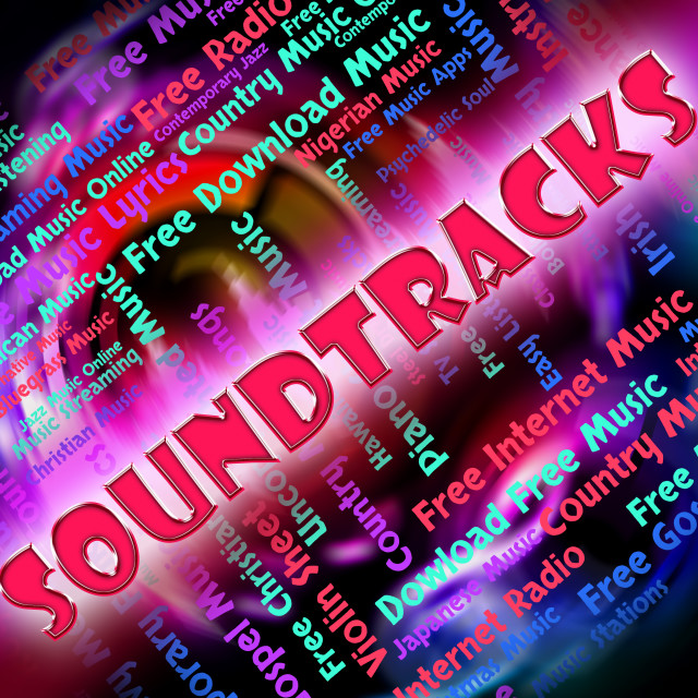 """""""Music Soundtracks Means Video Game And Melodies"""" stock image"""