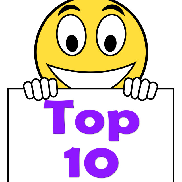 """""""Top Ten On Sign Shows Best Ranking Or Rating"""" stock image"""
