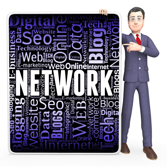 """""""Network Sign Indicates Global Communications And Communicate"""" stock image"""