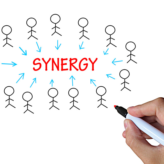 """""""Synergy On Whiteboard Means Union And Collaboration"""" stock image"""