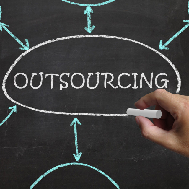 """Outsourcing Blackboard Means Freelance Workers And Contractors"" stock image"
