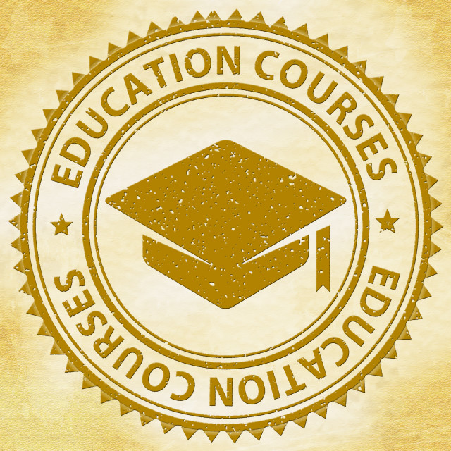 """Education Courses Represents Stamps Educating And Educated"" stock image"