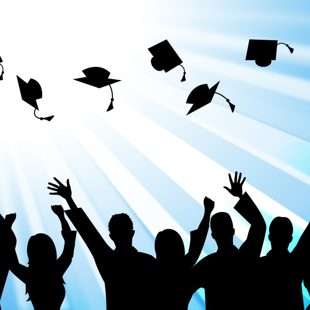 """Education Graduation Means Educate Study And Tutoring"" stock image"