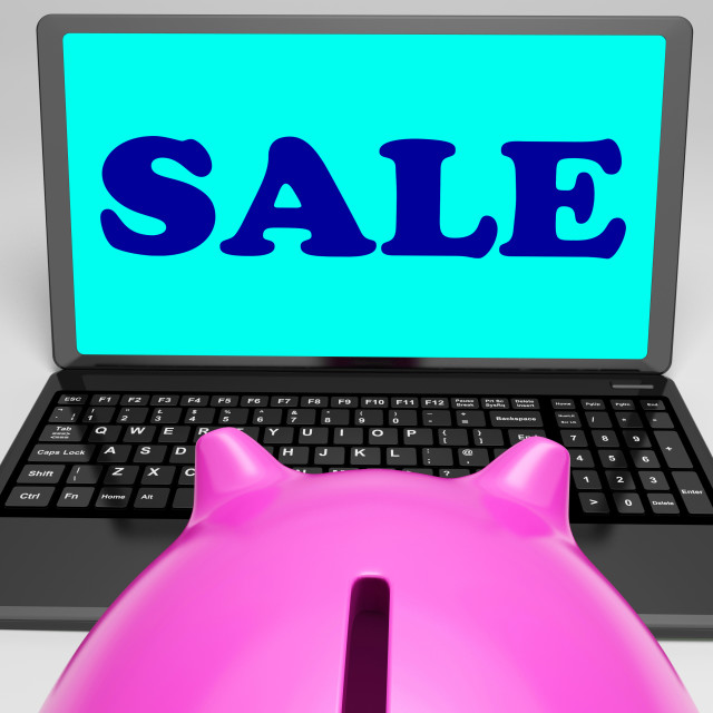 """""""Sale Laptop Shows Web Price Slashed And Bargains"""" stock image"""