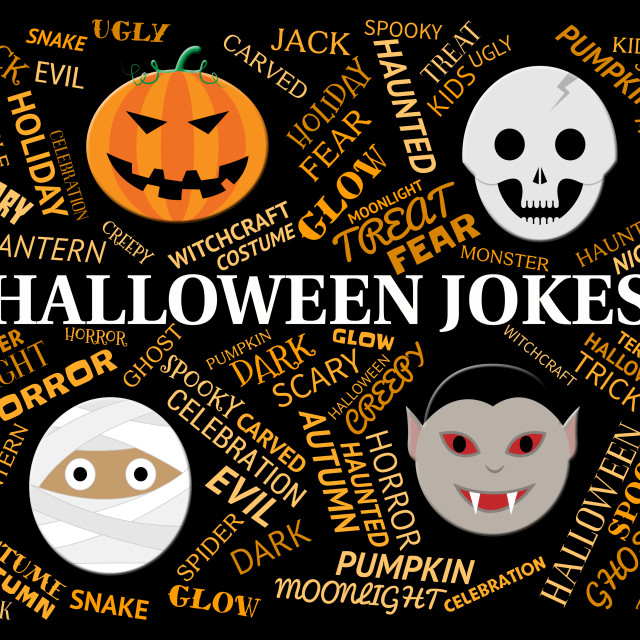 """Halloween Jokes Shows Trick Or Treat And Celebration"" stock image"