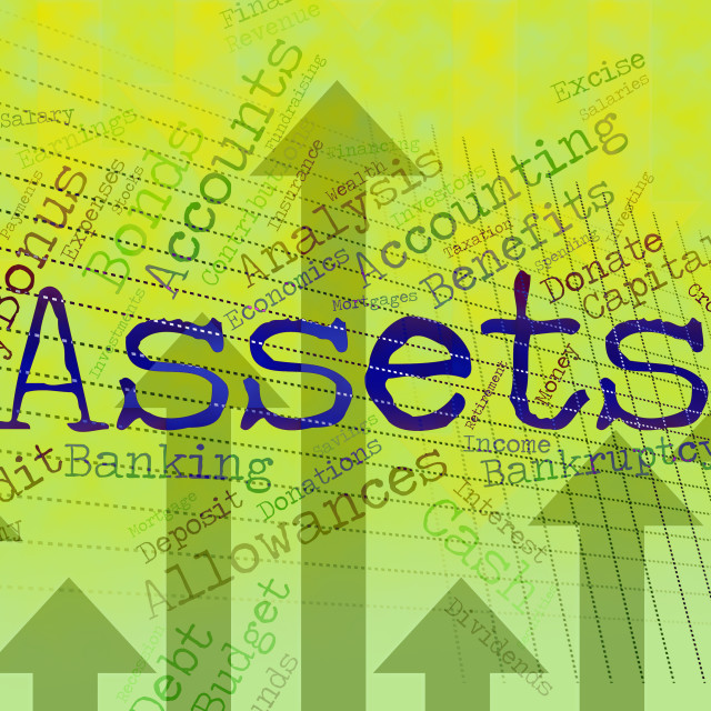 """""""Assets Words Represents Owned Valuables And Belongings"""" stock image"""