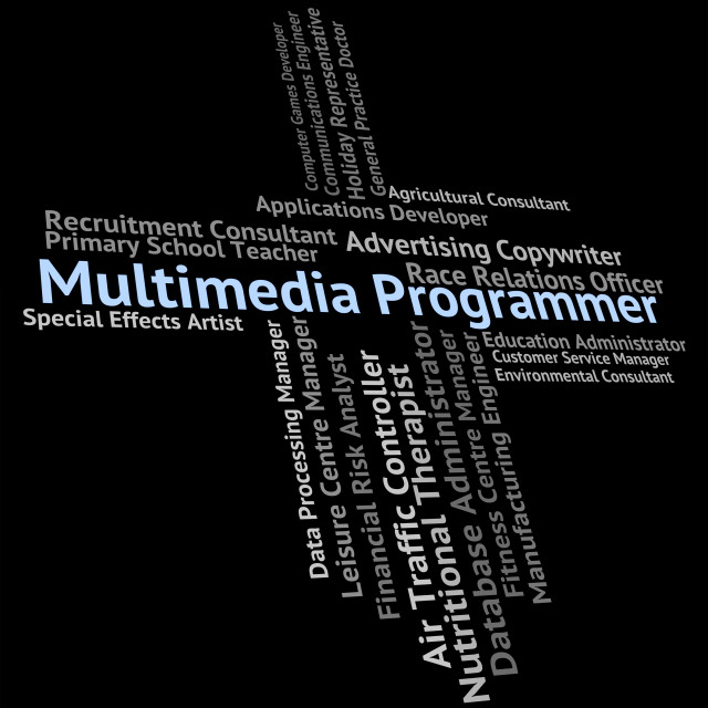 """""""Multimedia Programmer Means Software Engineer And Computer"""" stock image"""