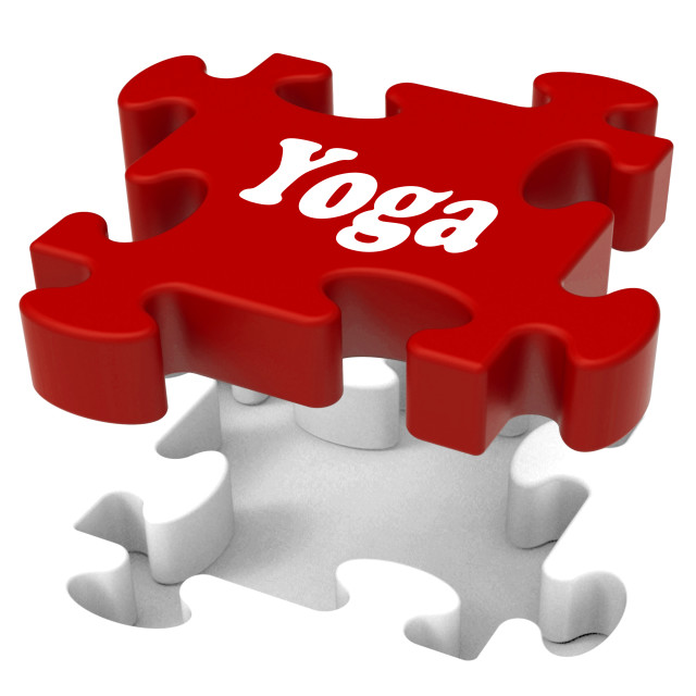 """Yoga Puzzle Shows Enlightenment Meditate Meditation And Relaxation"" stock image"