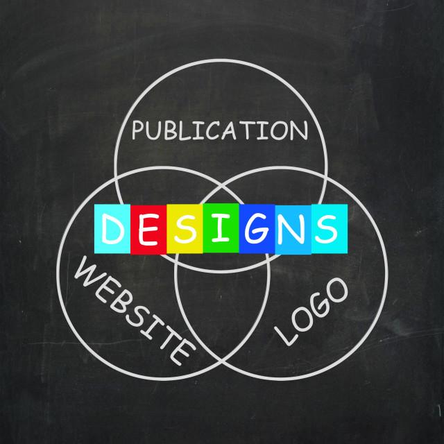 """Web design Words Indicate Designs for Logo Publication and Websites"" stock image"