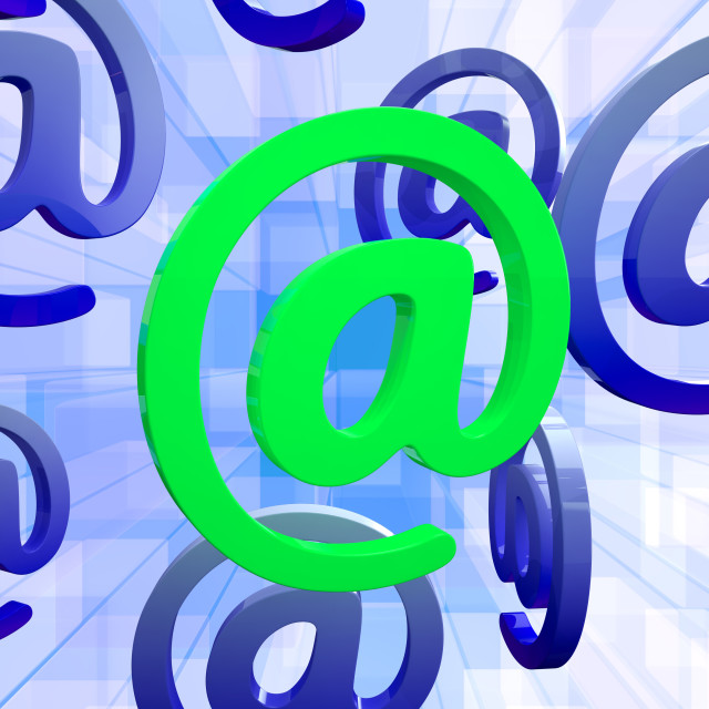 """""""At Sign Means E-mail Symbol For Message"""" stock image"""
