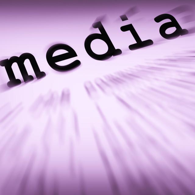 """Media Definition Displays Social Media Or Multimedia"" stock image"