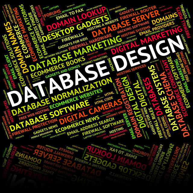 """""""Database Design Represents Computing Computer And Words"""" stock image"""