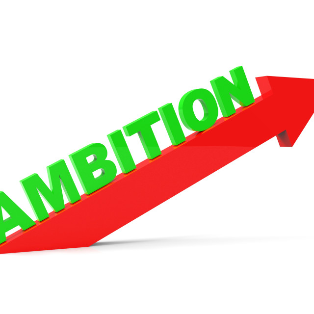 """Increase Ambition Shows Arrow Gain And Desire"" stock image"
