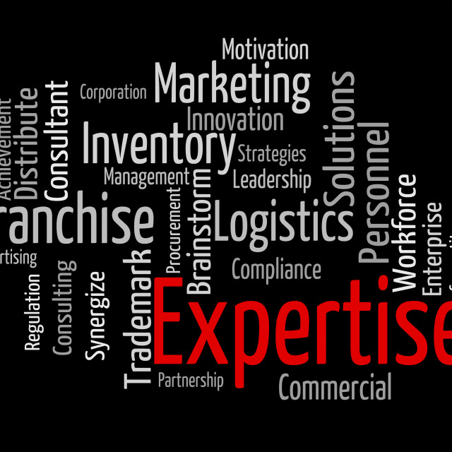 """Expertise Word Represents Knowledge Education And Capabilities"" stock image"