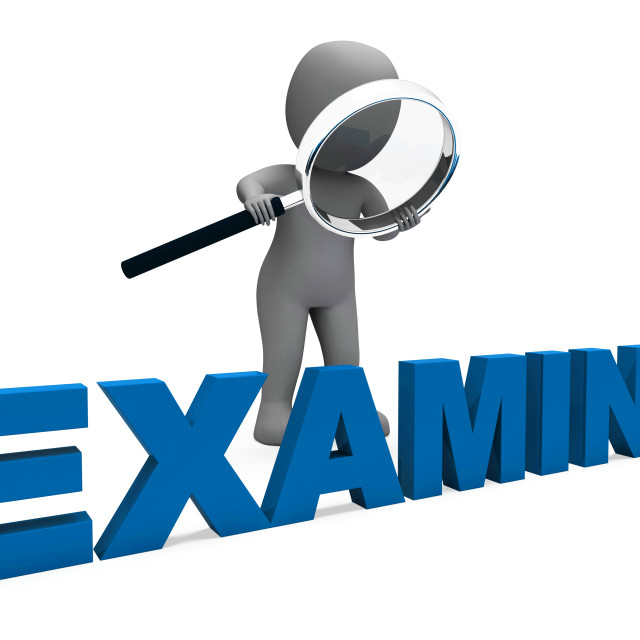"""""""Examine Character Shows Examination Examining And Scrutiny"""" stock image"""