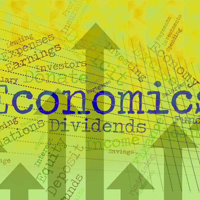 """Economics Word Shows Finance Economize And Economical"" stock image"