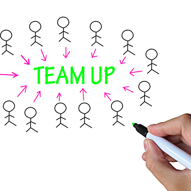 """""""Team Up On Whiteboard Shows Collaboration And Support"""" stock image"""
