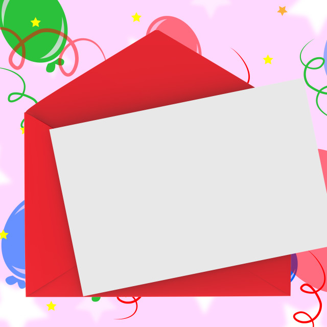 """""""Red Envelope With Note Means Romantic Correspondence Or Love Letter"""" stock image"""
