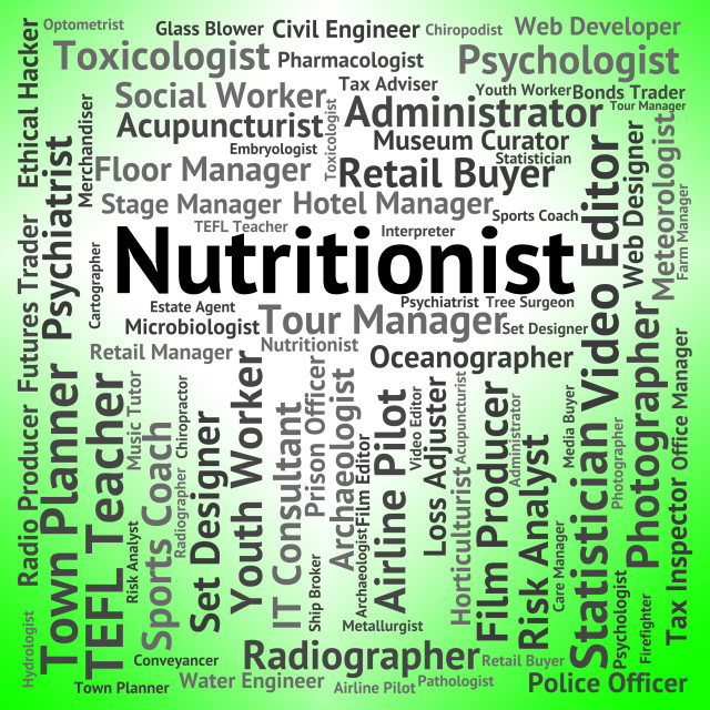 """Nutritionist Job Means Hire Food And Jobs"" stock image"