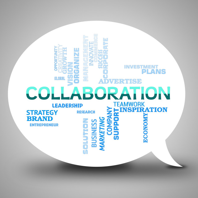 """""""Collaboration Bubble Indicates Team Together And Networking"""" stock image"""