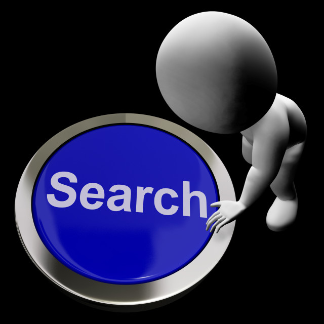 """""""Search Button Showing Internet Access And Online Researching"""" stock image"""