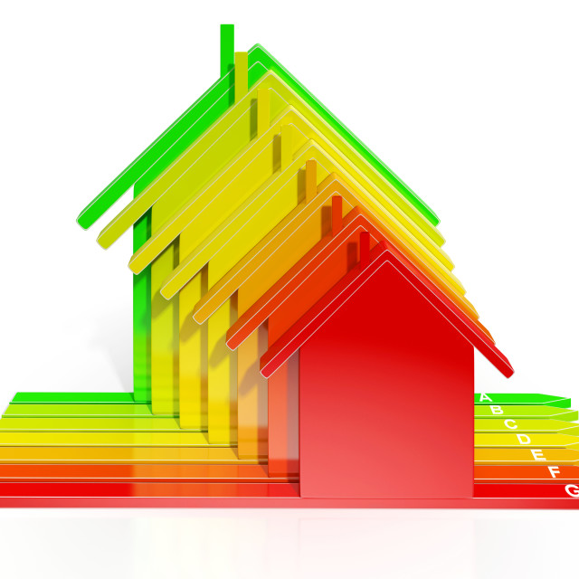 """""""Energy Efficiency Rating Houses Show Eco Home"""" stock image"""