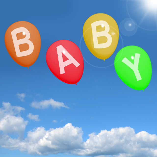 """Baby Balloons In Sky Showing Newborn Parenting Or Motherhood"" stock image"