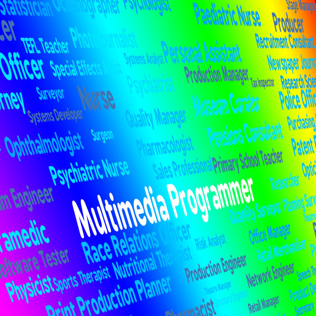 """""""Multimedia Programmer Indicates Software Engineer And Career"""" stock image"""