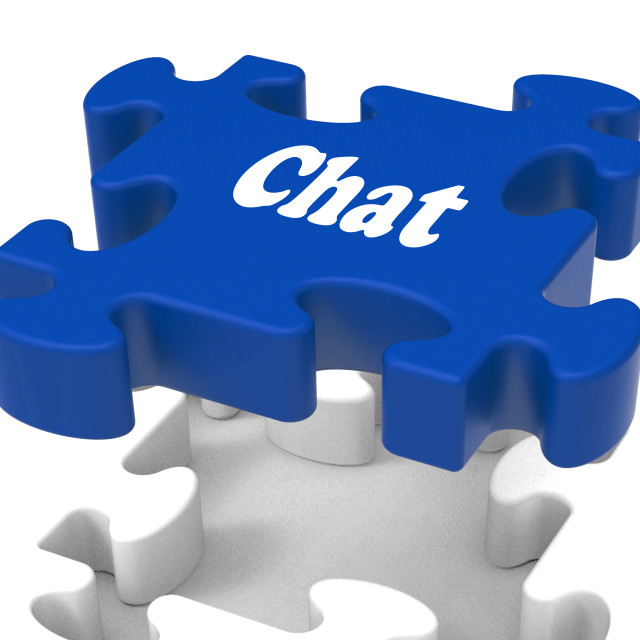"""Chat Jigsaw Shows Talking Chatting Typing Or Texting"" stock image"