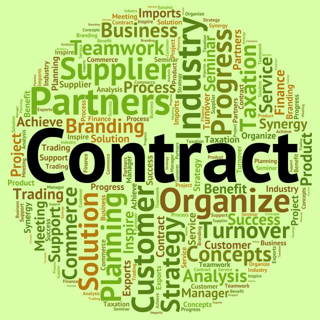 """Contract Word Shows Arrangement Understanding And Text"" stock image"