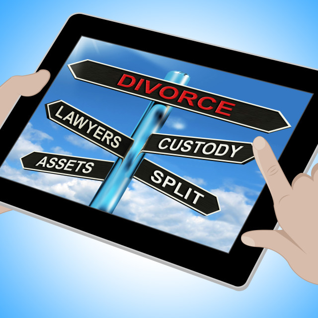 """Divorce Tablet Means Custody Split Assets And Lawyers"" stock image"