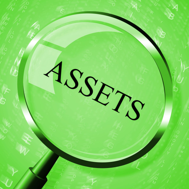 """""""Assets Magnifier Shows Valuables Goods And Magnify"""" stock image"""