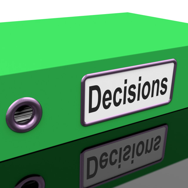 """""""Decisions File Indicates Business Correspondence And Files"""" stock image"""