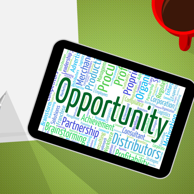 """Opportunity Word Indicates Possibility Words And Text"" stock image"