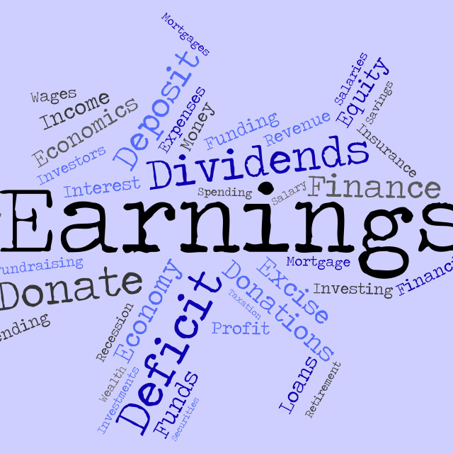 """Earnings Word Indicates Dividend Words And Revenue"" stock image"