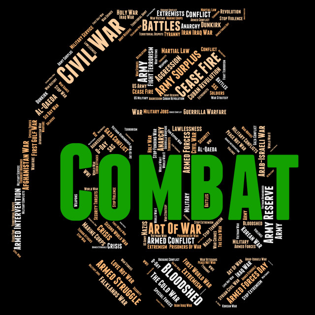 """Combat Word Shows Combats Warfare And Attack"" stock image"