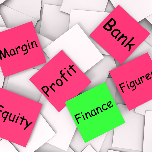 """Finance Post-It Note Shows Equity Or Margin"" stock image"