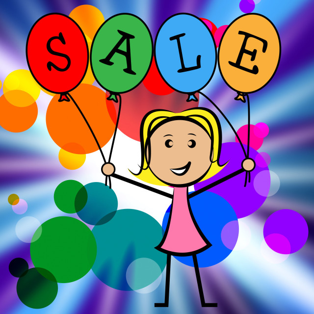 """Sale Balloons Indicates Young Woman And Kids"" stock image"