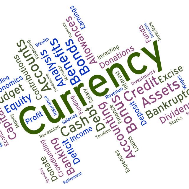 """Currency Word Indicates Worldwide Trading And Currencies"" stock image"