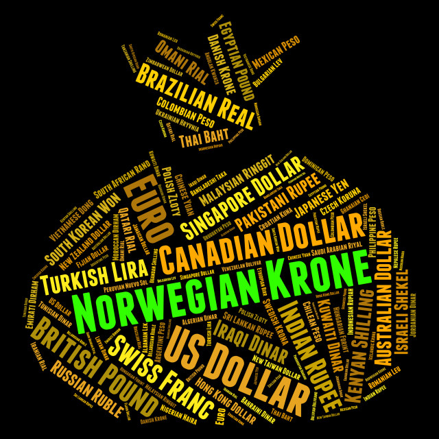 """Norwegian Krone Means Currency Exchange And Broker"" stock image"