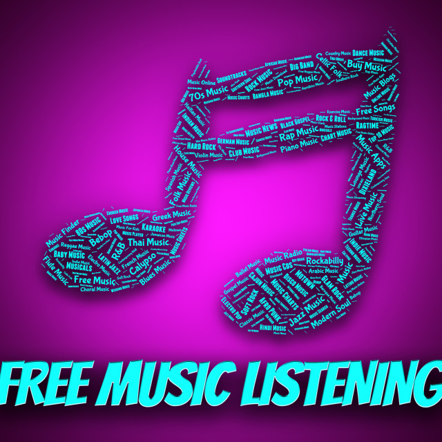 """Free Music Listening Indicates With Our Compliments And Freebie"" stock image"