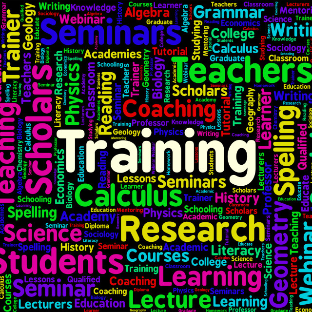 """Training Word Shows Education Learn And Lesson"" stock image"