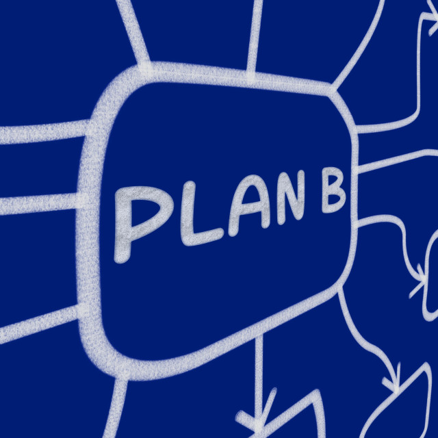 """Plan B Diagram Shows Substitute Or Alternative"" stock image"