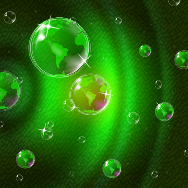 """Green Glow Indicates Solar System And Blazing"" stock image"