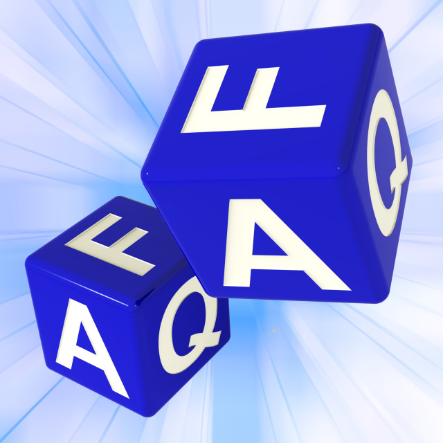 """FAQ Dice On Background Shows Assistance And Help"" stock image"
