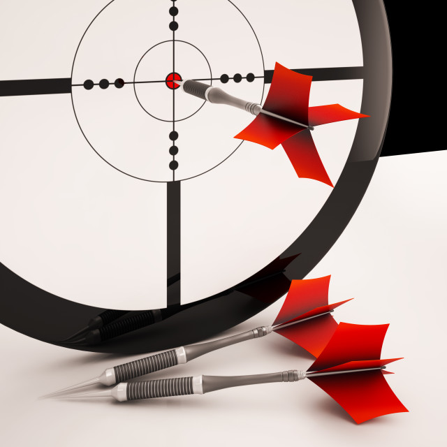 """Dart Target Means Focused Successful Aim"" stock image"