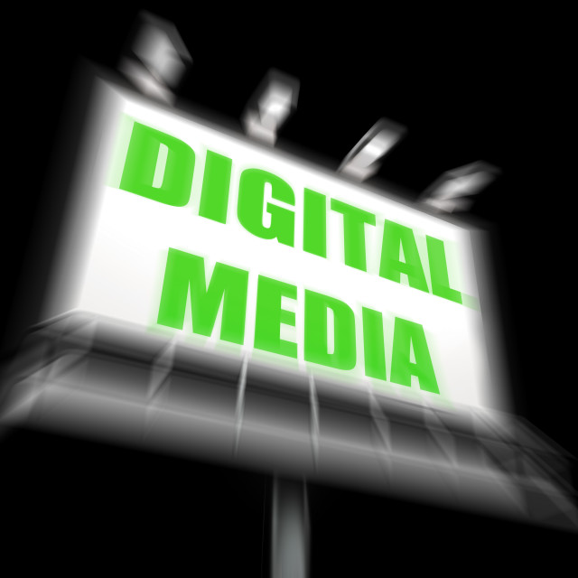 """Digital Media Sign Displays Electronic Computer Equipment"" stock image"